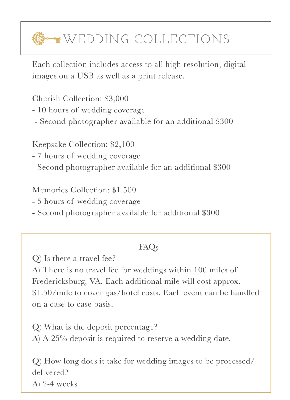 Wedding Collection Pricing_AHP 2 2017